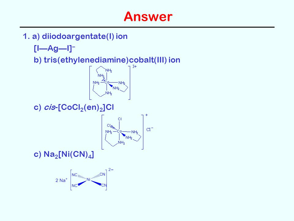 Answer 1. a) diiodoargentate(I) ion [I—Ag—I]–